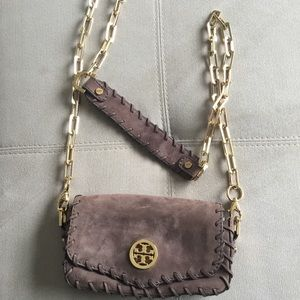 NEVER USED Tory Burch brown suede bag.